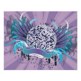 funky disco ball vector art posters