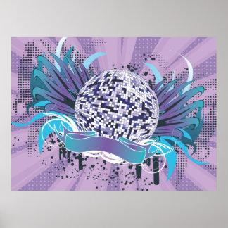 funky disco ball vector art poster