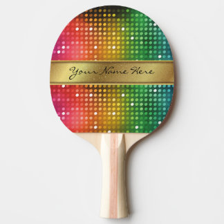 Funky Disco Lights with Gold Glitter Name Stripe Ping Pong Paddle