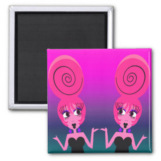 Funky Diva Twins Magnet