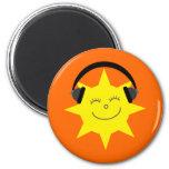 Funky DJ smiling sun orange magnet