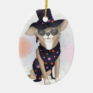 Funky dog christmas ornament