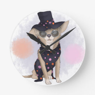Funky dog round clock