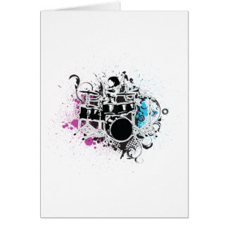 funky drummer vector design greeting card