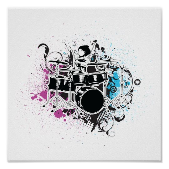 funky drummer vector design poster
