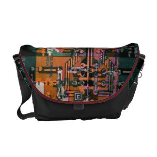 funky electrical circuit board abstract art courier bag