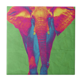 Funky elephant  2 small square tile