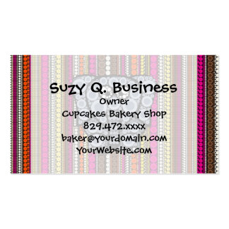 Funky Elephant Circle Mosaic with Stripes Business Card Template