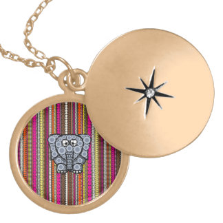 Funky Elephant Circle Mosaic with Stripes Lockets