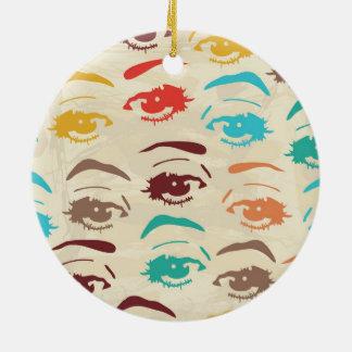 Funky Eyes Graphic Design Round Ceramic Decoration