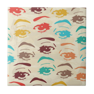 Funky Eyes Graphic Design Small Square Tile