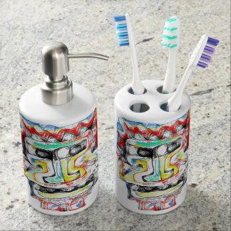 funky face 2 bathroom set - Funky Bathroom Accessories Uk