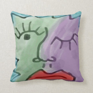 Funky Face Abstract Winking Watercolor Throw Pillow