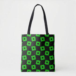 Funky Fancy Green Flowers on Black Pattern Tote Bag