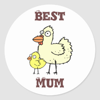 Funky Farm Chicken And Chick Best Mum! Sticker 1