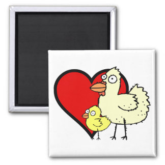Funky Farm Chicken And Chick I Heart Mom Magnet