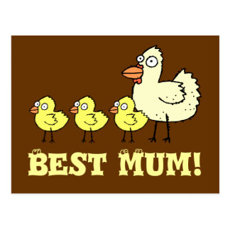 Funky Farm Chicken And Chicks Best Mum! Postcard 2