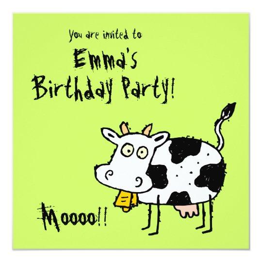Funky Farm Cow (Birthday) Party Invitation Moooo!!