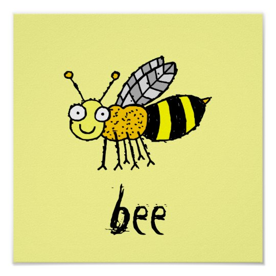 Funky Farm Honey Bee Kids Square Poster