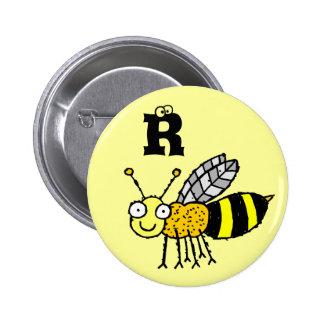 Funky Farm Honey Bee Monogram Button Letter R