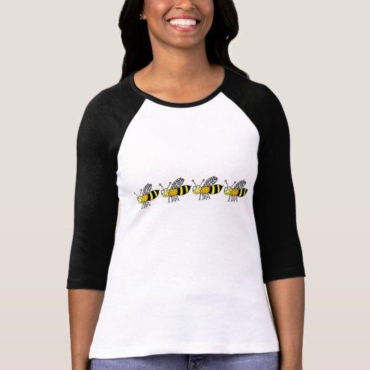 Funky Farm Honey Bee Pattern 3/4 Sleeve Raglan