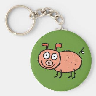 Funky Farm Pig Keychain