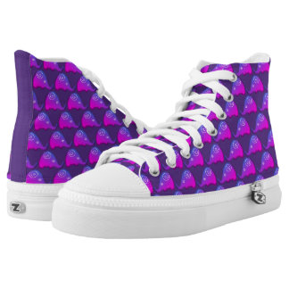 Funky Fashionable Purple Spiral Elephants Pattern High Tops