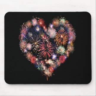 Funky Fireworks Love Mouse Mat