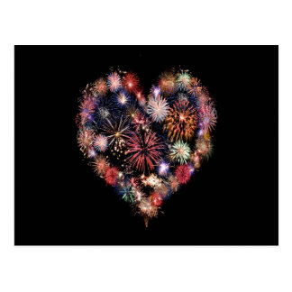 Funky Fireworks Love Postcard