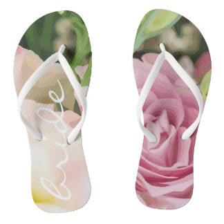 Funky flip flops bridal rose