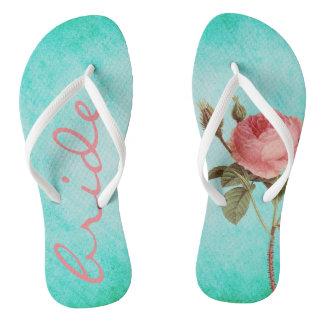 Funky flip flops bride rose vintage