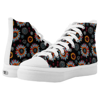 Funky Floral Black Background High Tops Printed Shoes