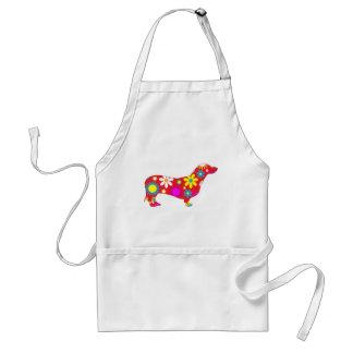 Funky floral dachshund dog apron, gift idea standard apron