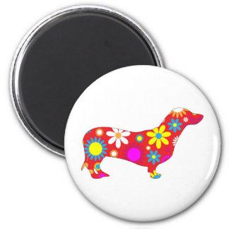 Funky floral dachshund dog magnet, gift idea 6 cm round magnet