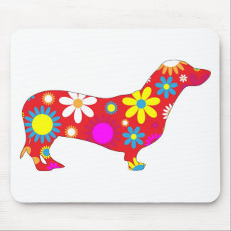 Funky floral dachshund dog mousepad, gift idea