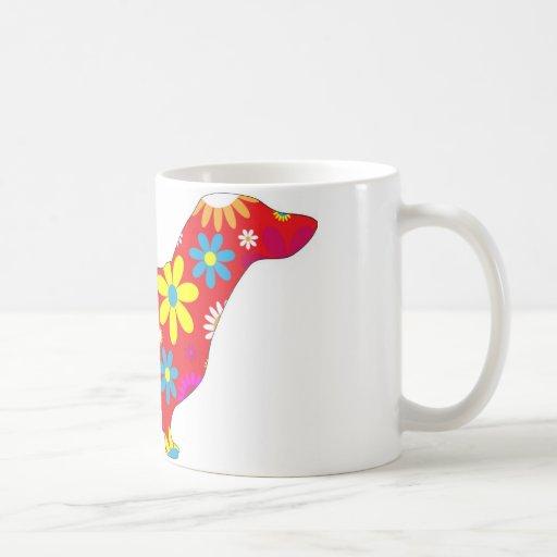 Funky floral dachshund dog mug