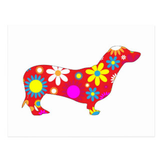 Funky floral dachshund dog postcard