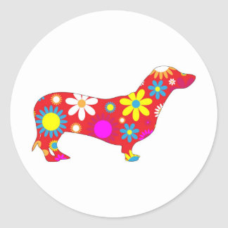 Funky floral dachshund dog stickers, gift classic round sticker