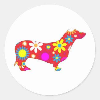 Funky floral dachshund dog stickers, gift round sticker