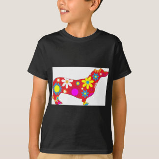 Funky floral dachshund dog T-Shirt