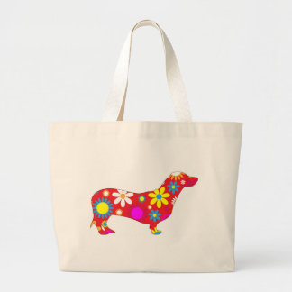 Funky floral dachshund dog tote bag