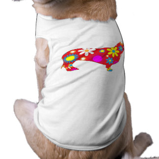 Funky floral dachshund pet dog clothing t-shirt