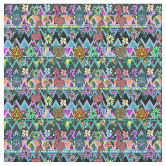 Funky Floral Flamingos Masks Chevron Fabric
