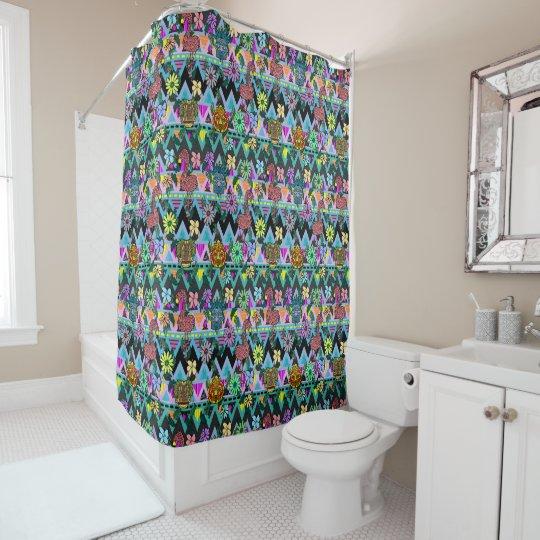 Funky Floral Flamingos Masks Chevron Shower Curtain