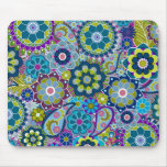 Funky Floral Pattern in trendy colours Mouse Pad