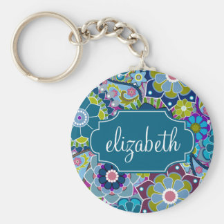 Funky Floral Pattern with Custom Name Basic Round Button Key Ring