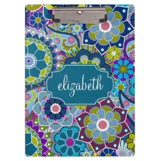Funky Floral Pattern with Custom Name Clipboard