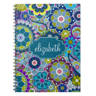 Funky Floral Pattern with Custom Name Note Books