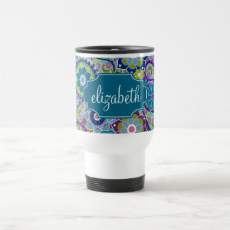 Funky Floral Pattern with Custom Name Travel Mug