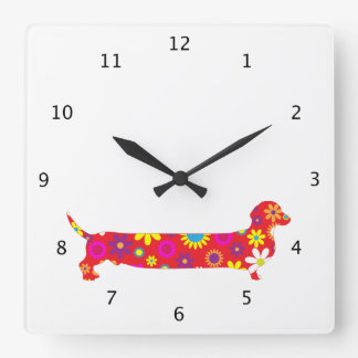 Funky floral retro Dachshund dog funny cartoon Square Wall Clock